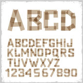 Alphabet letters and numbers made from adhesive tape — 图库矢量图片