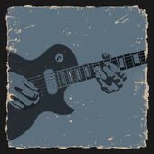 Guitar player on grunge background — Stock Vector