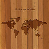 Wooden World map — Stock Vector