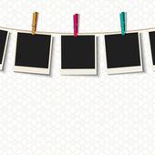 Fotoğraf çerçeveleri clothespins ile — Stok Vektör