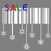 Venda de inverno criativo de vetor com floco de neve estilizado e código de barras — Vetor de Stock
