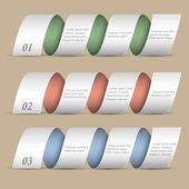 Trois rubans numérotés modernes-bannières — Vecteur