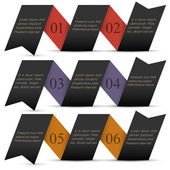 Origami black paper numbered banners — Stock Vector