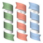 Drie genummerde linten-banners — Stockvector