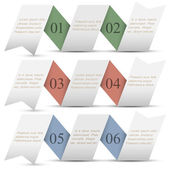 Three origami paper numbered banners — Stock Vector