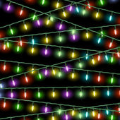 Vector Christmas lights on black background — Stock Vector