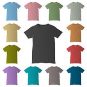 Vector t-shirt design templates in various colors — Stock Vector