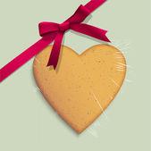 Geschenkbox mit cookie der herzförmige gebunden rosa schleife — Stockvektor