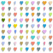 Vector background with colorful paper hearts — Stock Vector