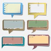 Seis burbujas de discurso de papel rasgado — Vector de stock