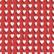 Seamless red background with paper hearts — Stock Vector