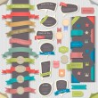 Big set retro design elements and speech bubbles - Stok Vektr
