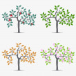 Seasonal trees — Stock Vector
