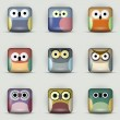 App icons vector set of owls — Stock Vector