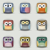 App icons vector set of owls — Stok Vektör