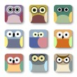 App icons vector set of cute owls — Stock Vector