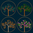 Vector set of icons seasonal trees — Stock Vector