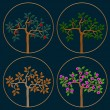 Vector set of icons seasonal trees — Stock Vector #26349373