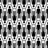 Black and white Halloween seamless pattern with coffins — Stock Vector