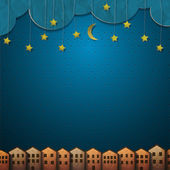 Homes and moon with stars from paper — Stock Vector
