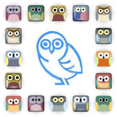Vector set of owl icons — Stock Vector