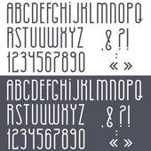 černé a bílé abecedy, číslice a interpunkční znaménka — Stock vektor