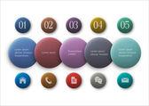 Кнопки опции - инфографика и веб-дизайн — Cтоковый вектор