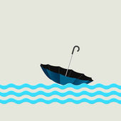 Blue umbrella on waves — Stock Vector