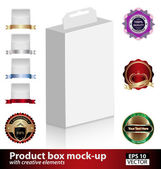 Product box mock-up with creative elements — Stock Vector