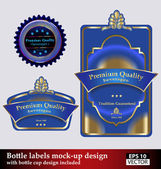 Bottle and bottle cap labels mock-up — Stock Vector