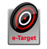 E ターゲット提供情報アイコン — ストックベクタ
