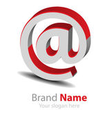 Vector brand red-grey3D logo — Stock Vector