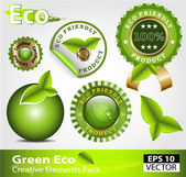 Green ecofriendly design elements — Stock Vector