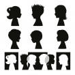 Children. Isolated silhouettes and banner - Imagen vectorial