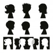 Children. Isolated silhouettes and banner - Stock vektor