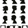 Silhouettes, profiles — Stock Vector