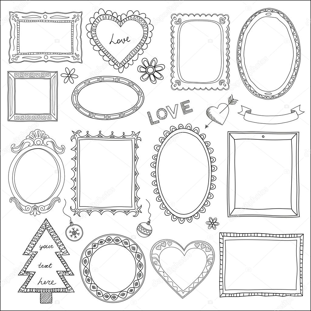 Set of doodle frames and different elements — Stock Vector #20783101