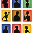Silhouettes of men and women — Stockvectorbeeld