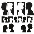 Royalty-Free Stock Vector Image: Set of couple silhouettes.