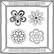 Set of doodle hand-drawn flowers and frame — Stock Vector