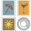 Summer postage stamps — Stock Vector