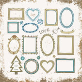 Set of doodle frames and other elements on a grunge background — Stock Vector