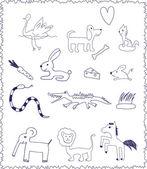 Animales. doodle niño estilo de dibujo — Vector de stock