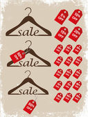 Set of hangers with price tags. — Stock Vector
