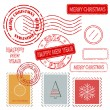 Set of Christmas and New Year stamps. — Stock Photo
