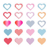 Hearts collection and also set of seamless patterns. — ストックベクタ