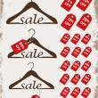 "Set of hangers with tags and word ""sale"" — Stock Vector"
