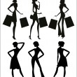 Women silhouettes, shopping. — Stock Vector #33882471