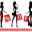 "Women shopping with inscription ""50 percent OFF"" on their bags — Stock Vector"
