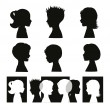 Children. Isolated silhouettes and banner — Stock Vector